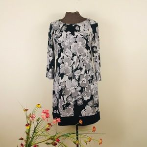 F&F tunic/dress 3/4 sleeves abstract floral design